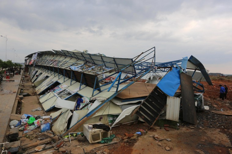 Damaged prefab houses lie on the ground after a tornado hit Yongzhou, central China's Hunan province. The tornado struck in the early morning on March 20 and affected over 110,000 people, with 3 person killed and 52 injured, the state media reported. (Getty Images)
