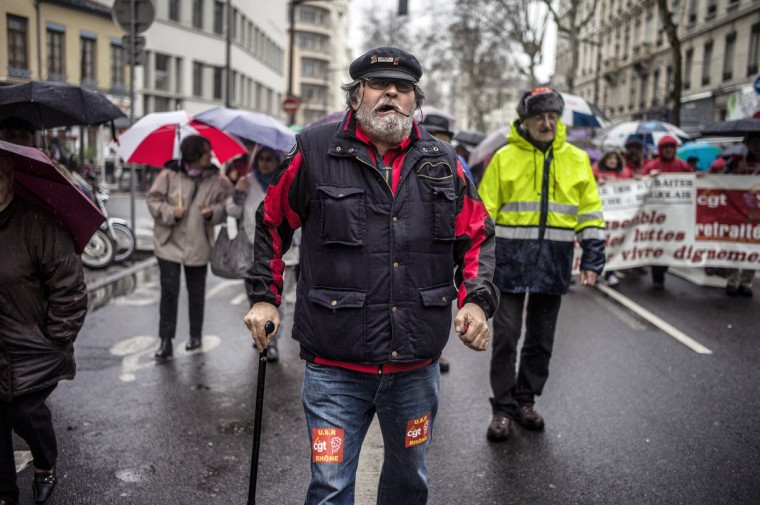 A retired man demonstrates in Lyon, to protest against the reduction of his pensions. (Jeff Pachoud/Getty Images)
