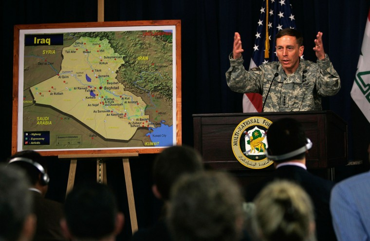 General David Petraeus gives his first press conference since taking over command of US forces in Iraq March 8, 2007 in the Green Zone in Baghdad, Iraq. Petraeus, said 21,500 additional soldiers and Marines will be deployed to Iraq by early June. (Chris Hondros/Getty Images)