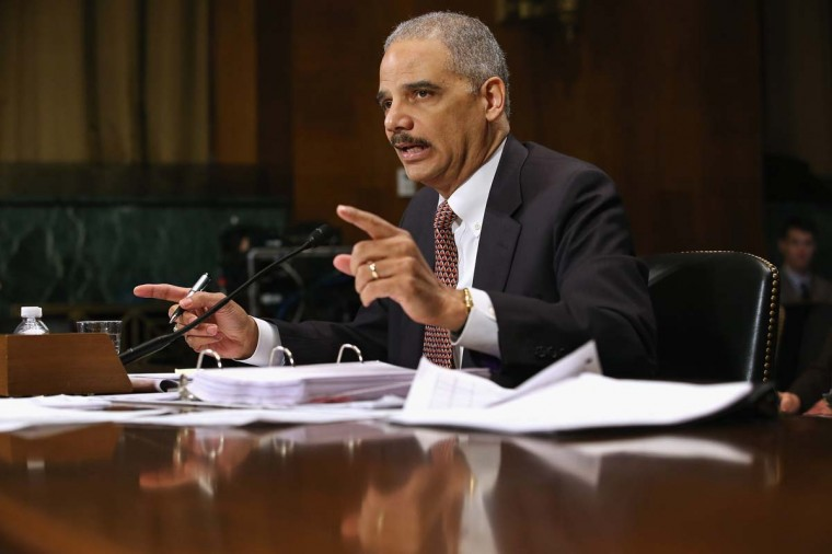 U.S. Attorney General Eric Holder testifies before the Senate Judiciary Committee on Capitol Hill March 6, 2013 in Washington, DC. Holder was asked about a variety of topics, including the federal budget sequester, the Fast and Furious program, the use of drone strikes on domestic targets and voter rights. (Chip Somodevilla/Getty Images)