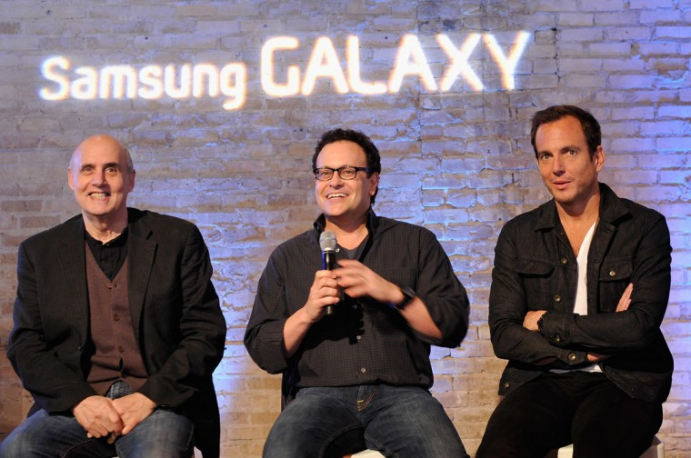 "Actor Jeffrey Tambor, writer Mitch Hurwitz and actor Will Arnett speak onstage at the ""Arrested Development"" panel at SXSW on March 10, 2013 in Austin, Texas. (John Sciulli/Getty Images for Samsung)"