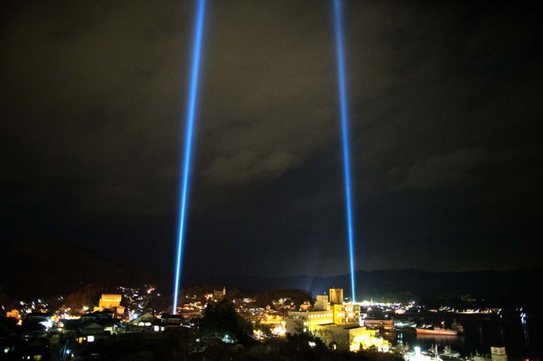 Kesennuma city is seen during a lightshow on March 11, 2013 in Kesennuma, Japan. Japan is commemorating the second anniversary of the 2011 Magnitude 9.0 earthquake and subsequent tsunami that claimed more than 18,000 lives. (Athit Perawongmetha/Getty Images)