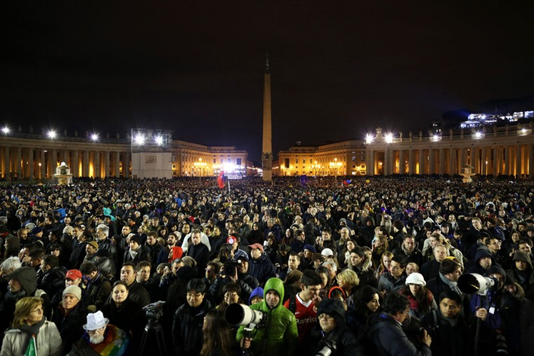 People pack St Peter's Square as they await news of whether the College of Cardinals has elected a new Pope on March 12, 2013 in Vatican City, Vatican.(Peter Macdiarmid/Getty Images)