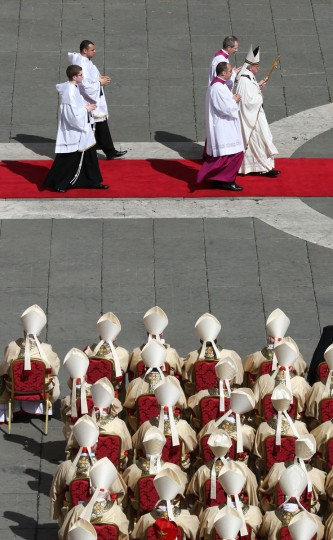 Pope Francis attends his inauguration mass in St. Peter's Square on March 19, 2013 in Vatican City, Vatican. (Peter Macdiarmid/Getty Images)