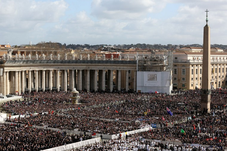 Crowds pack St. Peter's Square in the Vatican for Pope Francis' inauguration mass on March 19, 2013 in Vatican City, Vatican. The mass is being held in front of an expected crowd of up to one million pilgrims and faithful who have filled the square and the surrounding streets to see the former Cardinal of Buenos Aires officially take up his role as pontiff. Pope Francis' inauguration takes place in front of cardinals and spiritual leaders as well as heads of state from around the world. (Peter Macdiarmid/Getty Images)