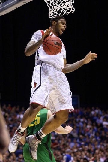 Louisville's Chane Behanan reacts after he dunked the ball in the second half against Oregon during the Midwest region semifinal round of the 2013 NCAA Men's Basketball Tournament on March 29, 2013 in Indianapolis, Indiana. (Streeter Lecka/Getty Images)