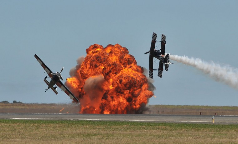 An aerobatics demonstration helps open the first public day at the Australian International Airshow in Melbourne. (Paul Crock/AFP/Getty Images)