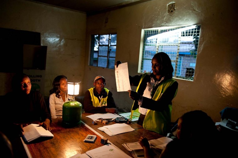 The vote count begins in Kamukunji Secondary School in Eastlands in Nairobi on March 4, 2013 during the elections. (Jennifer Huxta/AFP/Getty Images)