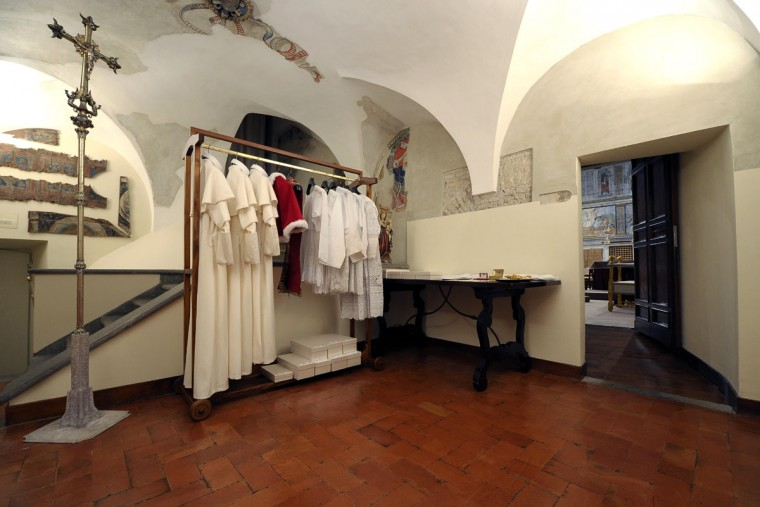 "This handout picture released by the Vatican's press office shows the ""Room of Tears"", a small room next to the Sistine Chapel, with the vestments of the next Pope displayed in three different sizes, before the start of the papal conclave at the Vatican on March 12, 2013. (Osservatore Romano handout/AFP/Getty Images)"