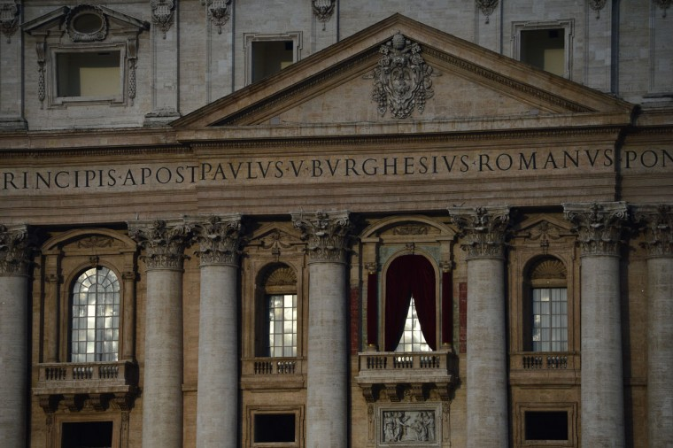 A picture shows the balcony of St. Peter's basilica where the new pope will appear early on March 12, 2013 at the Vatican. Cardinals moved into the Vatican today as the suspense mounted ahead of a secret papal election with no clear frontrunner to steer the Catholic world through troubled waters. (Guiseppe Cacace/AFP/Getty Images)