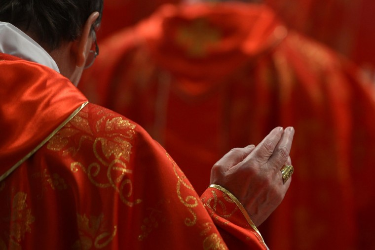 Cardinals attend a mass at St. Peter's Basilica before the start of the conclave on March 12, 2013 at the Vatican. (Gabriel Bouys/AFP/Getty Images)