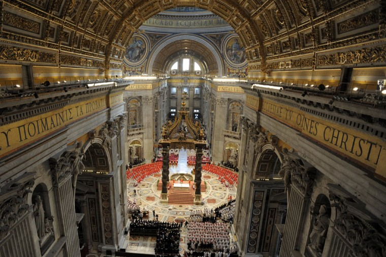 This handout picture released by the Vatican Press Office on March 12, 2013 shows cardinals following a grand mass at the St Peter'sBbasilica before the start of a papal election conclave on March 12, 2013 at the Vatican. (Osservatore Romano handout/AFP Getty Images)