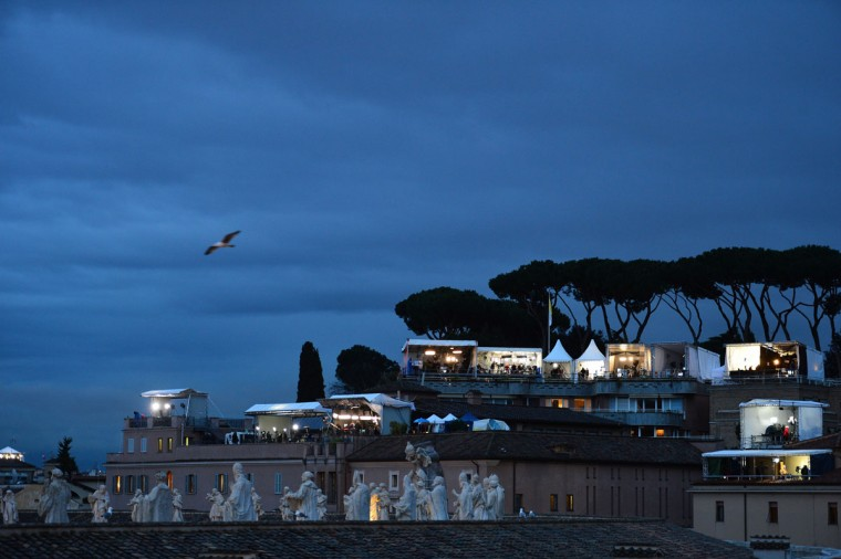TV tents set up near St. Peter's Basilica during the papal conclave on March 12, 2013 at the Vatican. (Giuseppe Cacace/AFP/Getty Images)