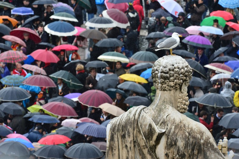 A seagull stands on a statue of St Peter while faithfuls holding umbrellas gather on St Peter's Square waiting for the smoke announcing the result of the second vote of the conclave on March 13, 2013 at the Vatican. The 115 cardinals held a first inconclusive vote in the Sistine Chapel yesterday as they began the process of finding a successor to Benedict XVI. (Giuseppe Cacace/AFP/Getty Images)