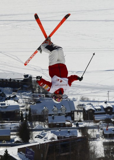 USA's Eliza Outtrim competes during the women's Moguls event at the FIS Freestyle World Cup in Are, Sweden. (Jonathan Nackstrand/AFP/Getty Images)