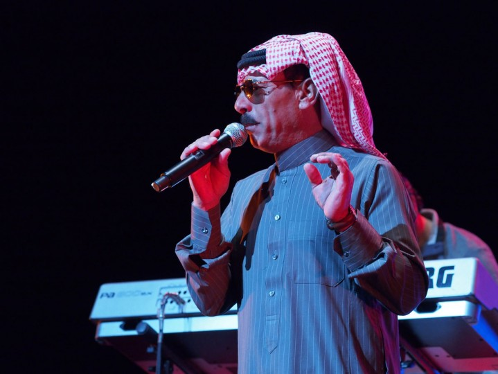 Celebrated Syrian singer Omar Souleyman performs in the early hours of March 16, 2013 at a benefit concert for victims and refugees of the conflict in his homeland during the South by Southwest (SXSW) festival in Austin, Texas. Souleyman, now living as a refugee with his family in Turkey, will remain in the US for the coming days to record a new album in New York, his manager said. (Robert MacPherson/AFP/Getty Images)
