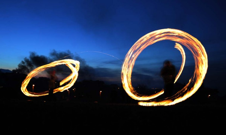 Boys swirl fireballs on March 17, 2013 in the village of Lozen, some 15 km east from the capital Sofia, as Bulgarians are marking Sirni Zagovezni, an Orthodox Christian holiday during which they chase away evil spirits with fire rituals. (Nikolay Doychinov/AFP/Getty Images)