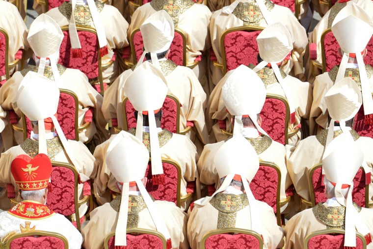 Catholic cardinals sit during Pope Francis' inauguration mass on March 19, 2013 at St Peter's Square at the Vatican. Pope Francis swept into St Peter's Square on Tuesday to greet throngs of pilgrims before a ceremony in which Latin America's first pontiff received the formal symbols of papal power. (Alberto Pizzoli/AFP/Getty Images)