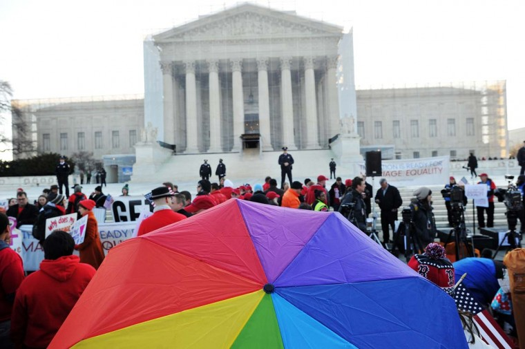 Supporters of same-sex marriage gather in front of the U.S. Supreme Court on March 26, 2013 in Washington, DC. (Jewel Samad/AFP/Getty Images)