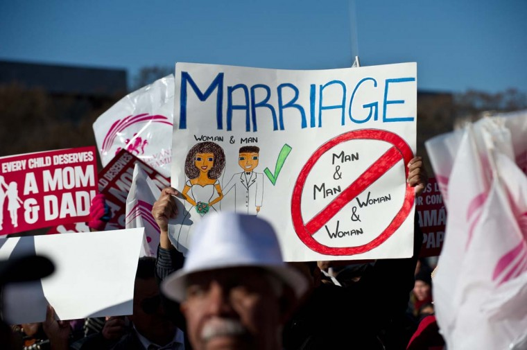Opponents of same-sex marriage participate in the March for Marriage in Washington,DC on March 26, 2013 as the U.S. Supreme Court hears arguments on California's Proposition 8 ban on same-sex marriage. (Nicholas Kamm/AFP/Getty Images)