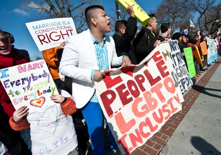 Supporters of same-sex marriage chant slogans as the anti-gay marriage March for Marriage arrives at the U.S. Supreme Court in Washington, DC on March 26, 2013. The court hears arguments on California's Proposition 8 ban on same-sex marriage. (Nicholas Kamm/AFP/Getty Images)