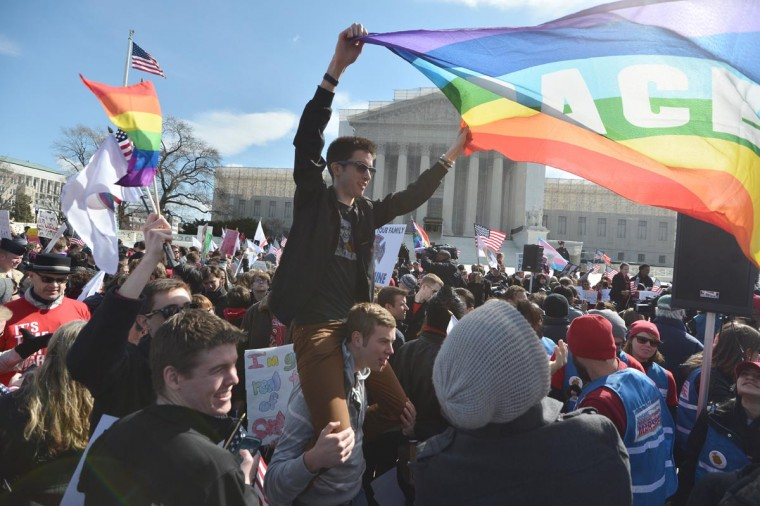 Same-sex marriage supporters demonstrate in front of the Supreme Court on March 27, 2013 in Washington, DC. (Jewel Samad/AFP/Getty Images)