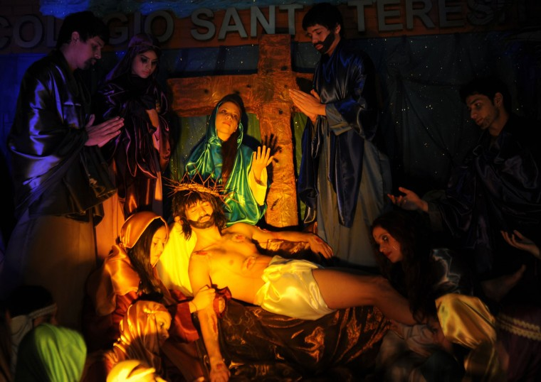 March 27, 2013: Students perform a scene from the Stations of the Cross commemorating Jesus Christ's last hours during Holy Week celebrations in Luque, Paraguay. (Norberto Duarte/AFP/Getty Images)