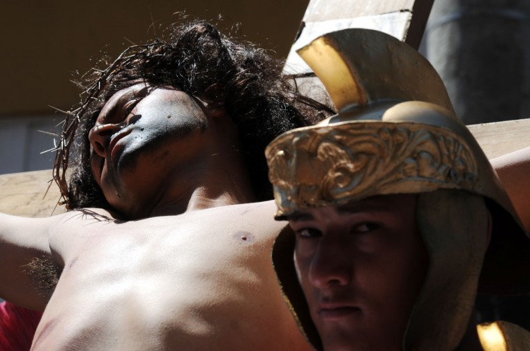 March 29, 2013: Actors enact the Passion of Jesus Christ during Good Friday in Tegucigalpa, Honduras. (Orlando Sierra/AFP/Getty Images)