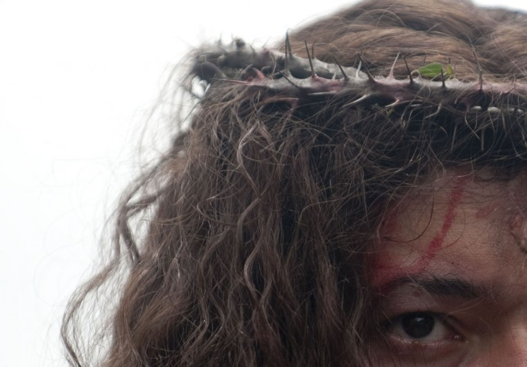 March 29 , 2013: An actor represents Jesus Christ during the Via Crucis procession along the streets of Medellin, Antioquia department, Colombia, as part of Good Friday ceremonies. (Raul Arboleda/AFP/Getty Images)