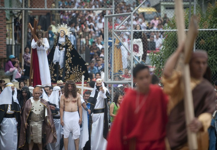 March 29, 2013: Actors enact the Passion of Jesus Christ in Medellin, Antioquia department, Colombia, as part of Good Friday ceremonies. (Raul Arboleda/AFP/Getty Images)