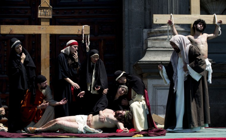 March 29, 2013: Actors perform during the Via Crucis procession as part of the Good Friday celebration in Mexico City. (Yuri Cortez/AFP/Getty Images)