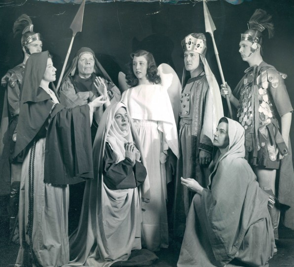 Charles Richards (left), Ruth Ann Norris, Samuel H. Gressitt, Thelma Riddle, A.C. Sanders Jr., Betty Damm and Jack Lauber take part in a Passion Play as part of Easter services in 1951. (Alex Malashuk, The Baltimore Sun)