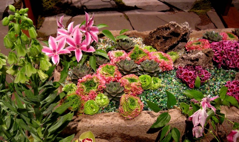"A detail of a rock garden at this year's show, which features a ""Brilliant!"" theme. (Michelle Deal-Zimmerman/Baltimore Sun)"