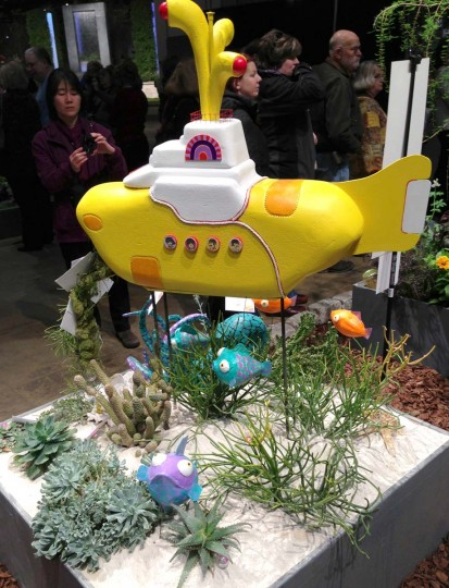 A tribute to the Beatles, seen is a a yellow submarine display at the 184th Philadelphia Flower Show. (Michelle Deal- Zimmerman/Baltimore Sun)