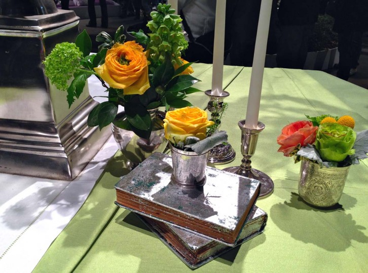 Seen is a small tablescape features antique silver at the 2013 Philadelphia Flower Show. (Michelle Deal- Zimmerman/Baltimore Sun)