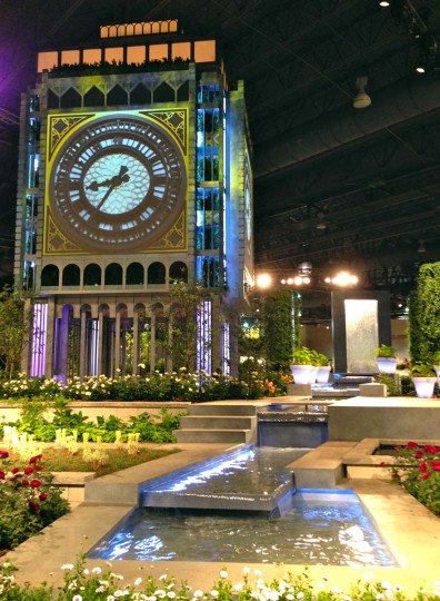 This digital replica of Big Ben lights up to play British music videos at the 184th Philadelphia Flower Show. (Michelle Deal- Zimmerman/Baltimore Sun)