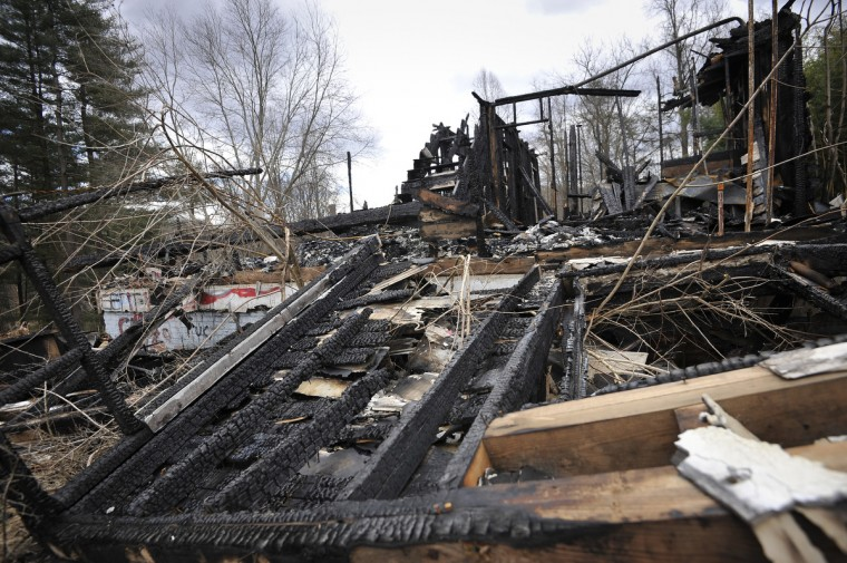 One of the buildings on the grounds of the Henryton complex, lies in ruins after a recent fire. The facility closed in1985. There've been 70 fires there over the past decade, local fire officials say. (Kim Hairston/Baltimore Sun)