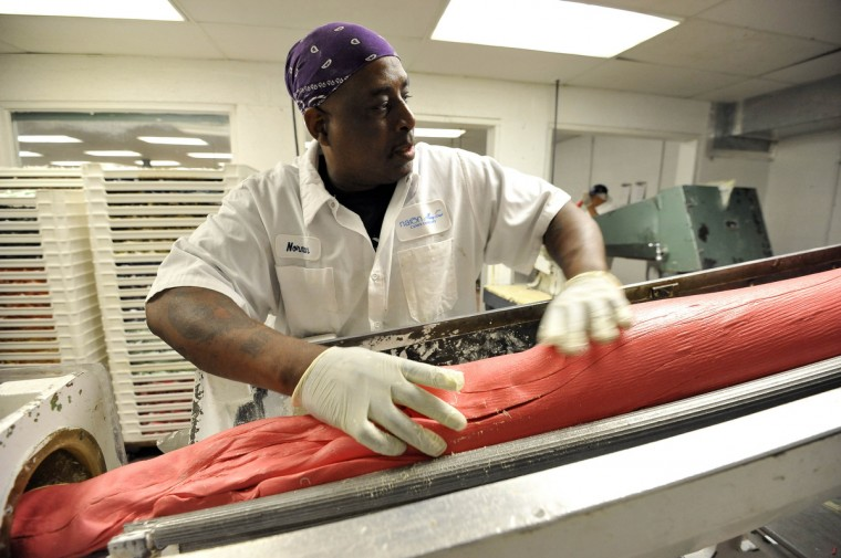 Norman Boyd monitors Winter and summer meet inside Mary Sue Candies as production of cream eggs winds down and salt water taffy is turned out. (Kim Hairston/Baltimore Sun)