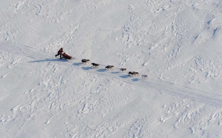 Aerial view of Aliy Zirkle as she drives her dog team outside White Mountain, Alaska, toward the finish line in Nome on Tuesday, March 12, 2013, during the Iditarod Trail Sled Dog Race. (Bill Roth/Anchorage Daily News/MCT)