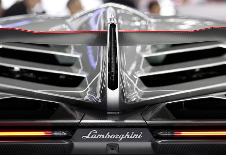 The back of the Veneno car is pictured on the Lamborghini booth during the second media day of the 83rd Geneva Car Show. (Denis Balibouse/Reuters photo)