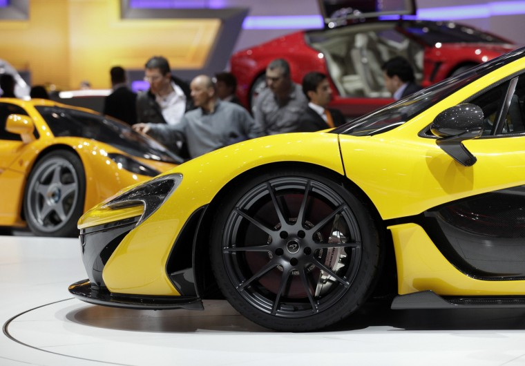 The McLaren P1 car (front) is pictured during the second media day of the 83rd Geneva Car Show at the Palexpo Arena in Geneva. (Denis Balibouse/Reuters photo)