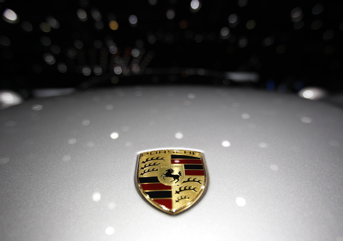 A Porsche Logo Is Pictured On A Car During The Second Media Day Of