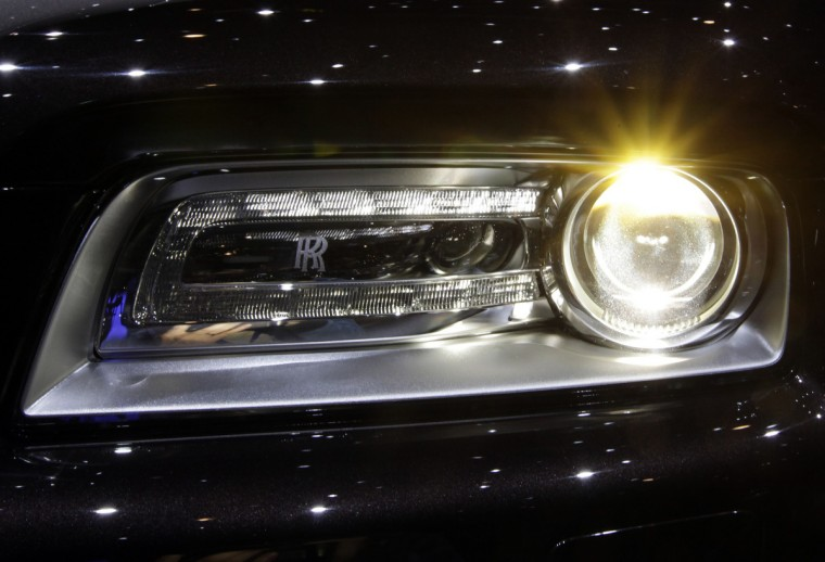 The headlights of the new Rolls-Royce Wraith car is pictured during the second media day of the 83rd Geneva Car Show at the Palexpo Arena in Geneva. (Denis Balibouse/Reuters photo)
