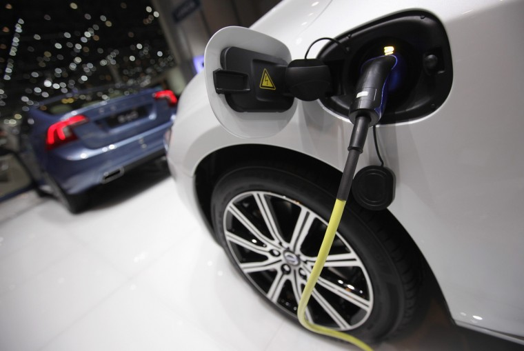 An electrical charger is pictured on the V60 hybrid car at the Volvo stand during the second media day of the 83rd Geneva Car Show. (Denis Balibouse/Reuters photo)
