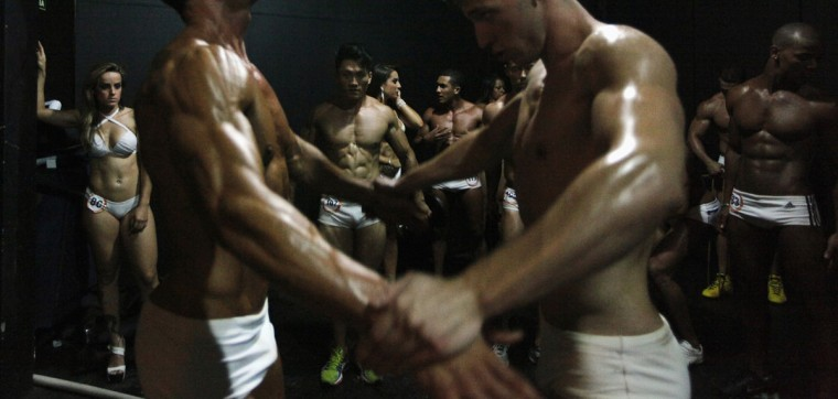 Competitors prepare backstage during the Sao Paulo Beauty and Fitness men and women's competition in Sao Paulo. Around 2,000 participants from all over Sao Paulo took part in the tournament and the winners will move on to compete in the national tournament in June. (Paulo Whitaker/Reuters)