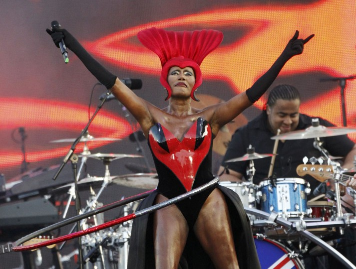 June 4, 2012: Jamaican singer Grace Jones performs with a hula hoop during the Diamond Jubilee concert in front of Buckingham Palace in London. Large crowds gathered on the grand red road leading to Queen Elizabeth's sumptuous London palace on Monday for the pop concert on the third day of her Diamond Jubilee to celebrate her 60 years on the throne. (David Moir/Reuters)