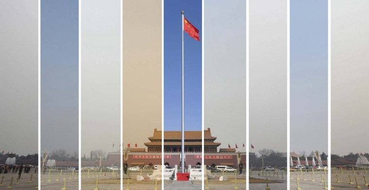 "The air pollution levels in the sky over Tiananmen Square during the National People's Congress (NPC) in Beijing is seen in this combination picture taken on the dates March 6, 7, 8, 9, 10, 11, 12, 14 and 15 (L-R) in 2013. Chinese Premier Li Keqiang pledged on March 17, 2013 that his government would ""show even greater resolve"" in tackling China's festering pollution crisis, a source of increasing public fury. Air quality in Beijing has mostly stayed above ""very unhealthy"" and ""hazardous"" levels since the beginning of this year. (Wei Yao/Reuters)"