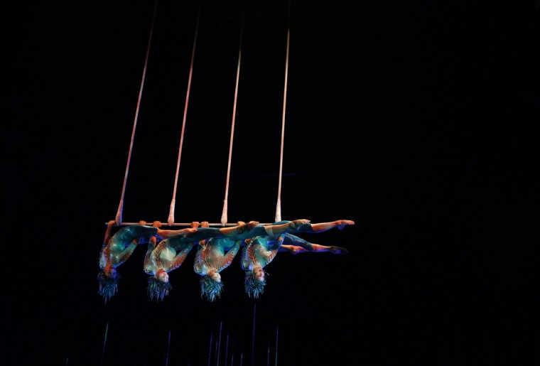 Artists perform during Cirque du Soleil's Varekai show in Bogota. (John Vizcaino/Reuters)