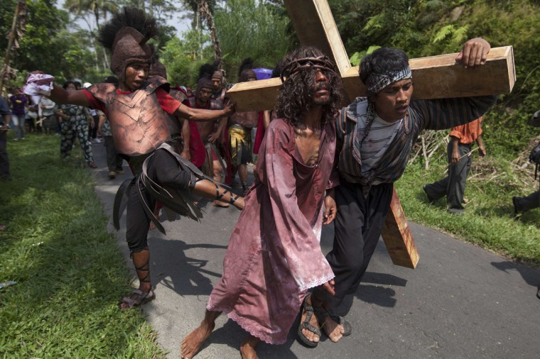 March 29, 2013: Villagers take part in an Easter Passion Play re-enacting the crucifixion of Jesus Christ on Good Friday at Gantang Village near Magelang, in the province of Central Java, Indonesia. (Dwi Oblo/Reuters)