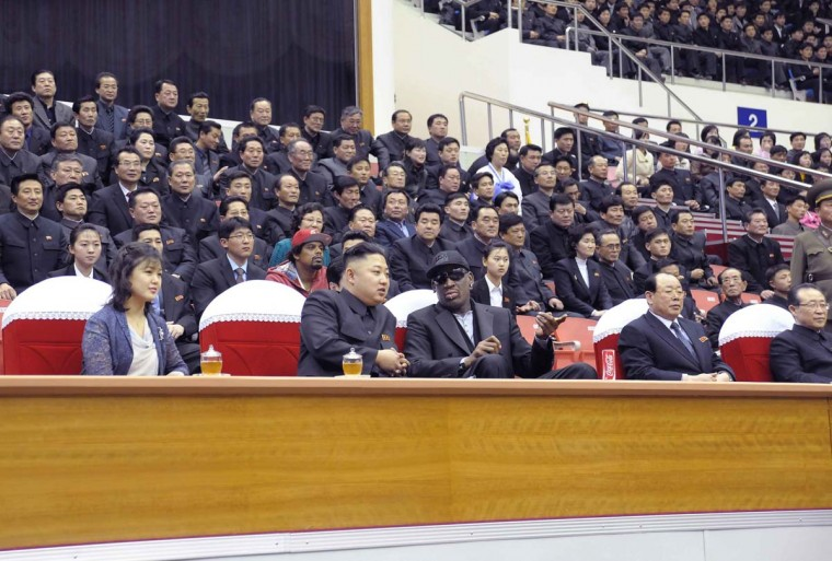 North Korean leader Kim Jong-Un (2nd L), his wife Ri Sol-Ju (L) and former NBA basketball player Dennis Rodman (3rd L) watch an exhibition basketball game in Pyongyang in this undated picture released by North Korea's KCNA news agency on March 1, 2013. KCNA reported that a mixed basketball game of visiting U.S. basketball players and North Korean players was held at Ryugyong Jong Ju Yong Gymnasium in Pyongyang on February 28, 2013. (KCNA via Reuters)